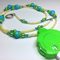 Blue Green Beaded Row Counter Jewelry for Knitting or Crochet
