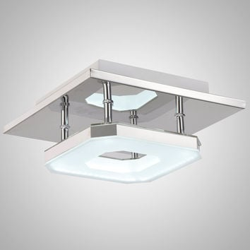 Modern Nature White Acrylic LED Flush Mount Light Max 8W with Chrome Finish