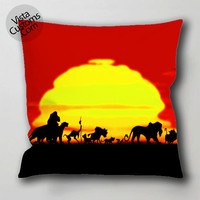 the lion king sunset pillow case, cushion cover ( 1 or 2 Side Print With Size 16, 18, 20, 26, 30, 36 inch )