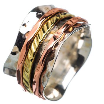 Spinner Ring - Three Tone Scaloped Edge Band