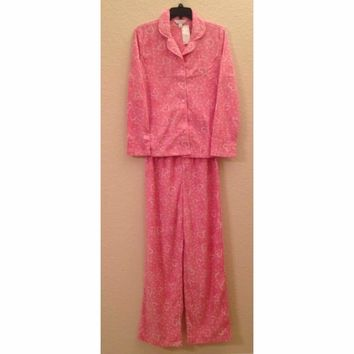 Charter Club Fleece Top and Pajama Pants Set 131028 Pink Hearts XXL