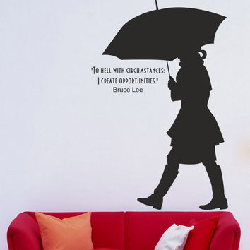 I210 Wall Decal Vinyl Sticker Art Decor Design girl silhouette umbrella weather quote words street walk Living Room Bedroom