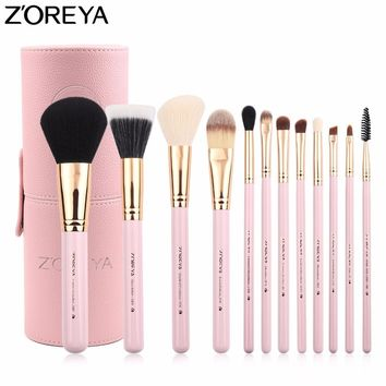 ZOREYA Brand Makeup Brushes 12pc Professional Make Up Brush set With Cylinder High Quality 2017 Updated Cosmetics Tool maquiage