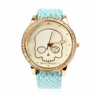 ZLYC Skeleton Rhinestone Studded Mint Green Ladies Wrist Watch