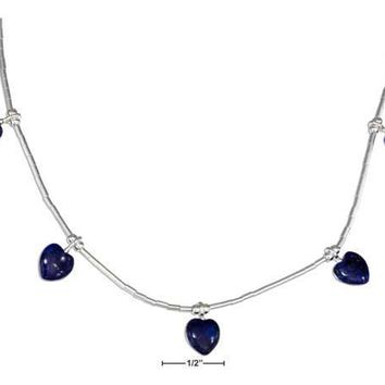 "Sterling Silver Necklaces: 16"" Liquid Silver And Beaded Lapis Hearts Necklace"