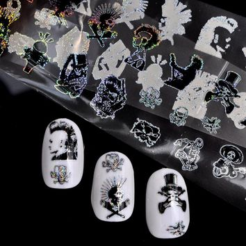 New Nail Foil 100*4cm Skull Head Cute Design Punk Style Zombie Stickers Glue Transfer Nail Design Halloween Decoration