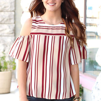 Just Stripe Me Cold Shoulder {Burgundy+Taupe}