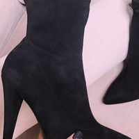 Watch Me Black Suede Pointed Toe Sock Bootie