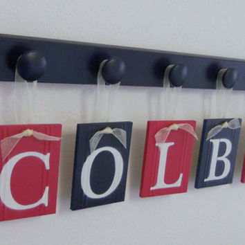 Navy and Red Nursery Wall - Room Decor  - Name Set includes Baby Boy COLBY and 5 Wooden Pegs Navy