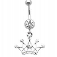 CZ TIARA DANGLE BELLY BUTTON RING