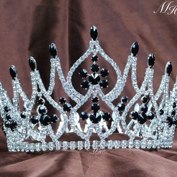 "Incredible Wedding Bridal Handmade Crowns 4.25"" Black Crystal Rhinestones Full Round Hair Piece Beauty Pageant Party Prom"