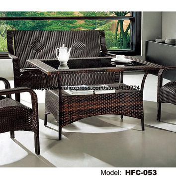 Low Price Rattan Sofa Chair Table Set Hot Sale Wicker Gardern Furniture 1.2M Table Rattan Sofa Chair Stool Combination Factory