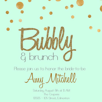 Printable Mint and Gold Champagne Brunch bridal shower Invitation