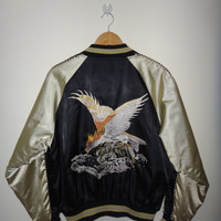 "Vintage Eagle Sukajan Hayabusa Japanese Souvenir Jacket ""Peregrine Flying Falcon"" Bomber Jacket Collector"