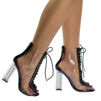 Posh1 Nude by Liliana, Clear Translucent Transparent Lace Up Peep Toe Ankle bootie w Perspex Block Heel