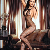 Sexy Mesh Fishnet Lingerie Net Sleeveless Open Crotch Body Stocking Black = 1931871940