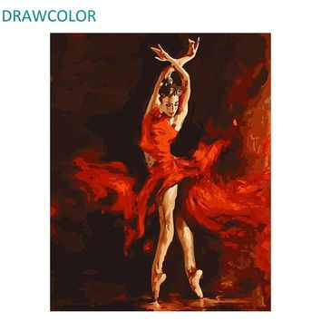 DRAWCOLOR Frame Dancer DIY Painting By Numbers Figure Painting Acrylic Paint On Canvas Modern Wall Art Paint By Number For Home