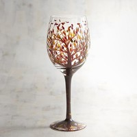 Tree and Leaves Painted Wine Glass