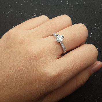 Custom made 1ct Brilliant Moissanite Engagement ring White gold,Diamond wedding band,14k,Round Cut,Gemstone Promise Ring,Women Royal Crown