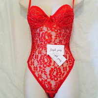 Vintage VS Red Lace teddy