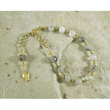 Persephone Prayer Bead Bracelet in Rutilated Quartz: Greek Goddess of Spring, Renewal, Death