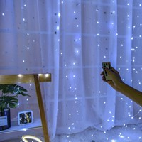 Remote control Window Curtain Lights Copper wire 3x3m 300 LED Christmas light Wedding Party Decorations Wireless USB Powered