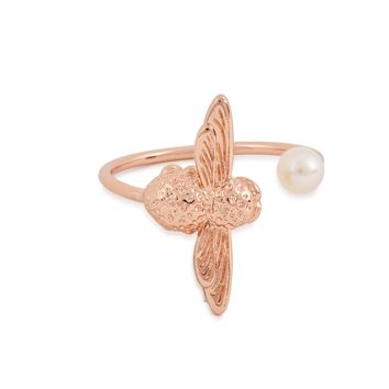 Pearl Bee 18ct rose gold-plated ring