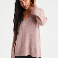 AE Zip-Back Bell Sleeve Sweater, Rose