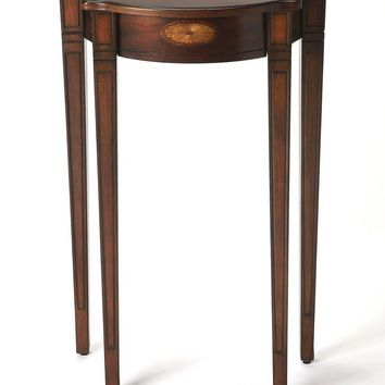 Chester Traditional Demilune Console Table Dark Brown