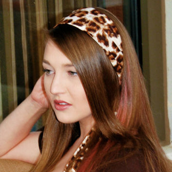 Brown Leopard Print Tie Back Scarf Headband