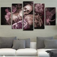 2016 Art Pictures HD Printed Posters Skull And Roses Wall Modern Modular Painting On Canvas Room Decoration For Living Room