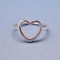 Simple Open Heart Ring in 92.5 Sterling silver