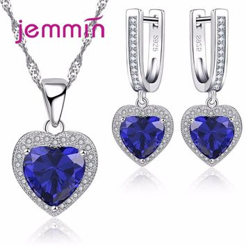 Jemmin Hot Elegant Heart Sapphire 925 Silver Bridal Jewelry Sets For Women Necklace And Earrings Set Engagement Jewellery Set