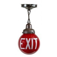 Early 1920's interior bank building exit light with large ruby red globe