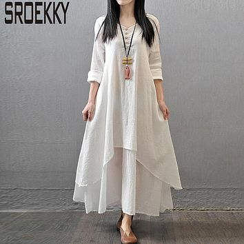 Plus Size Summer Dress Women Casual Beach Dresses 2017 New Fashion Cotton Linen Long Party Vestidos Full Sleeve O-Neck Maxi Robe