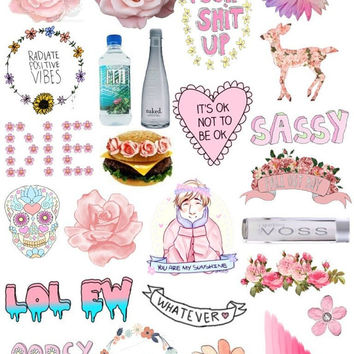 Set #25. Mockup printable Tumblr Stickers, Stickers, Set of stickers. Decals. Instant Download PDF and PNG Files