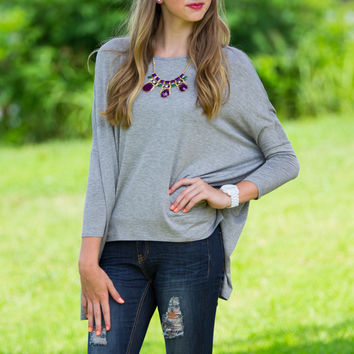 Glam-Outside The Box Top-Grey