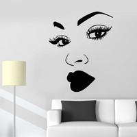 Vinyl Wall Decal African Woman Makeup Girl Face Eyelashes Lips Stickers (2213ig)