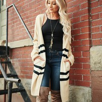 Fashion Goals Striped Cardigan (Taupe)