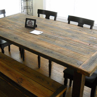 7' Harvest/Farm Table and bench  built from by jrobbinsbarnworks