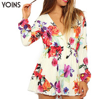 YOINS 2016 Fashion Woman Floral Print Longsleeve Playsuit Sexy V-neck Pleated Jumpsuit Lady Slim Romper Beach Wear Plus Size