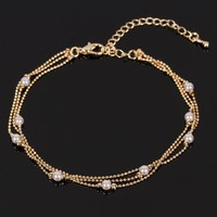 Lady Girl Summer Beautiful Pearl Gold Plated Chain Ankle Bracelet Anklet Gift