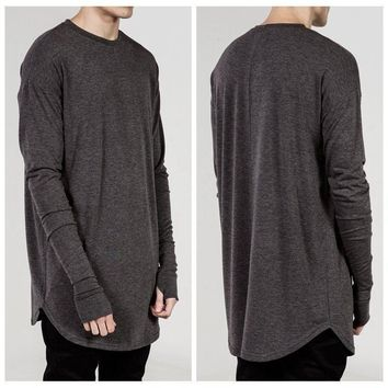 Swag Style O-Neck Men Casual T Shirt Long Sleeve Thumb Hole Cuffs Side Split Silm Fit Men's Clothing