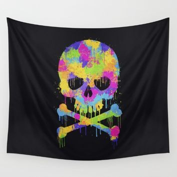 Abstract Trendy Graffiti Watercolor Skull Wall Tapestry by Badbugs_art