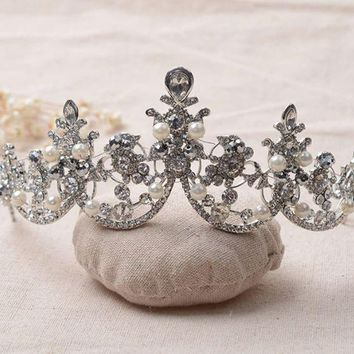Baroque Style Pearl Cubic Zirconia Rhinestone Crown Tiara Wedding Hair Accessories Bridal Jewelry