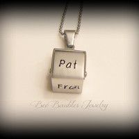 Mothers Day Gift - Hand Stamped Stainless Steel Name Cube - Family Necklace