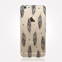 Transparent Tribal Feathers iPhone Case - Transparent Case - Clear Case - Transparent iPhone 6 - Transparent iPhone 5 - Transparent iPhone 4