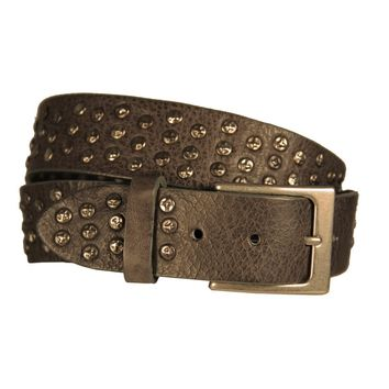 Coperto Curved Handmade Leather Belt  - Gun Smoke Grey with Antique Silver