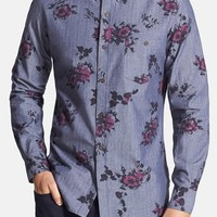 Men's French Connection 'Doleful' Slim Fit Floral Print Chambray Sport Shirt