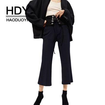 Fashion Women Pants Flared Bell Bottom Pants Office Ladies Elegant Side Pocket Pants Black Casual Cropped Trousers